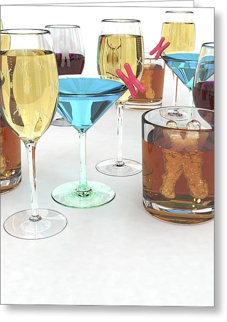 Metabolism Greeting Cards - Alcohol Metabolism Gene, Conceptual Image Greeting Card by David Mack