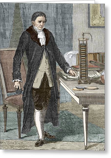 Volta Greeting Cards - Alessandro Volta, Italian Physicist Greeting Card by Sheila Terry