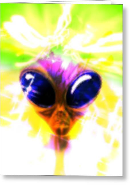 Out Of This World Greeting Cards - Alien, Artwork Greeting Card by Victor Habbick Visions
