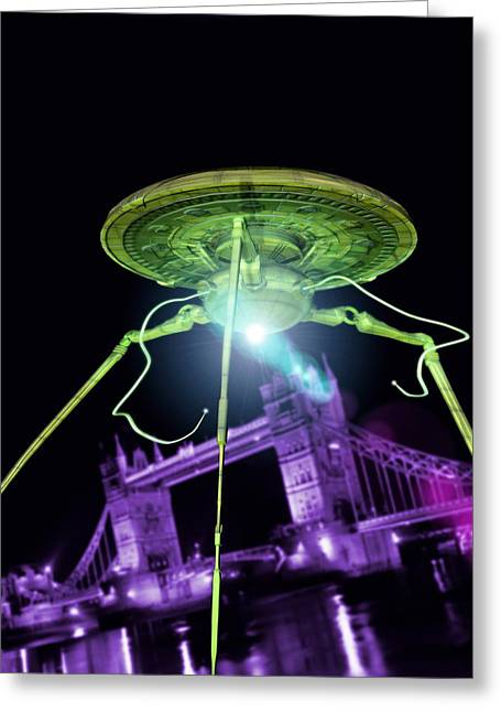 Occupy Greeting Cards - Alien Invasion Greeting Card by Victor Habbick Visions