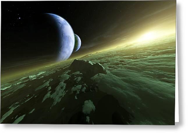 Earthlike Greeting Cards - Alien Planetary System, Artwork Greeting Card by Detlev Van Ravenswaay