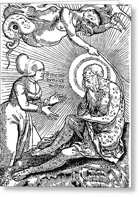 Plague Greeting Cards - Allegorical Illustration Of Plague Greeting Card by Science Source