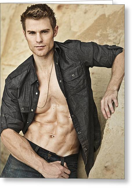 Model On Beach Greeting Cards - Allen Greeting Card by Invicta I Shoot the Hotness