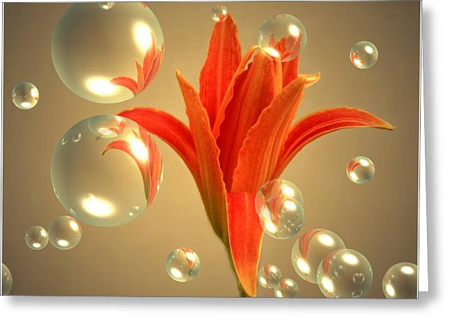 Artography Greeting Cards - Almost A Blossom In Bubbles Greeting Card by Joyce Dickens