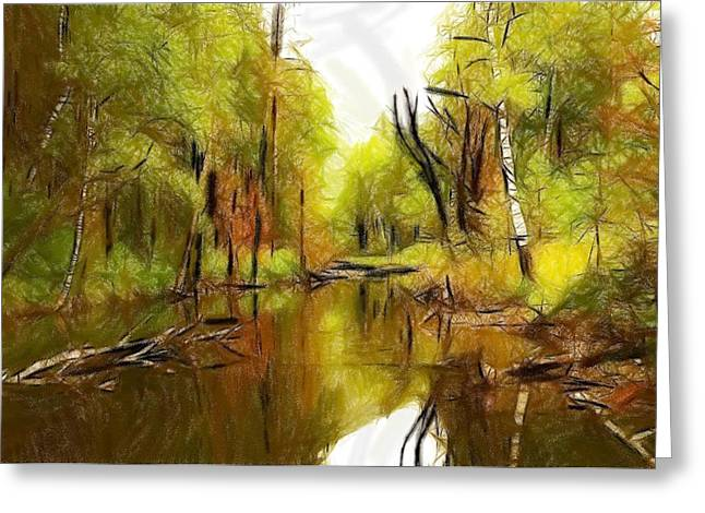 Reflections Pastels Greeting Cards - Along the river Greeting Card by Stefan Kuhn