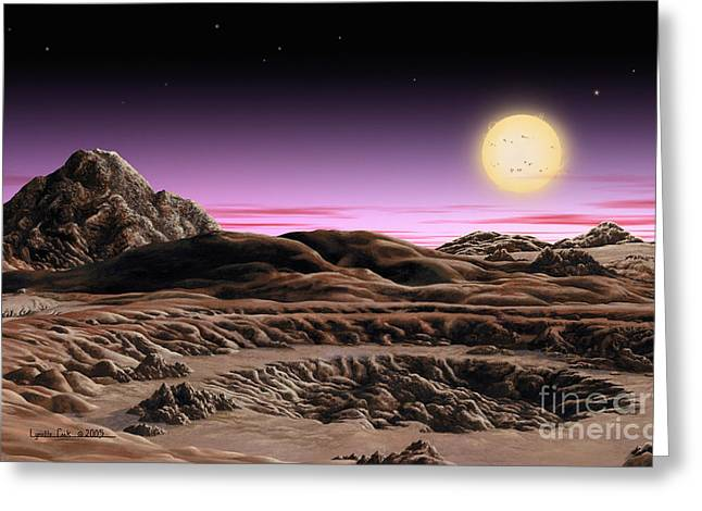 Planetary System Paintings Greeting Cards - Alpha Centauri System Greeting Card by Lynette Cook