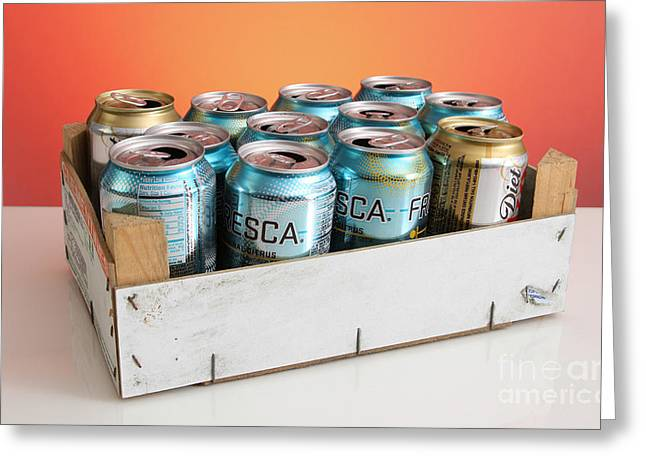 Soda Can Greeting Cards - Aluminum Cans For Recycling Greeting Card by Photo Researchers, Inc.