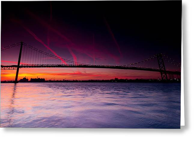 Border Photographs Greeting Cards - Ambassador Bridge Greeting Card by Cale Best