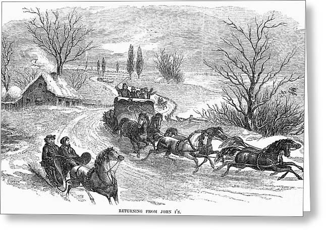 Winter Road Scenes Greeting Cards - America: Sleighing, 1855 Greeting Card by Granger