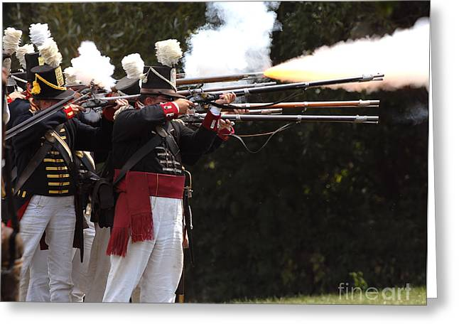 Skirmish Line Greeting Cards - American Firing Line Greeting Card by JT Lewis
