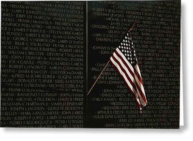 American National Flag Greeting Cards - American Flag Left At The Vietnam Greeting Card by Medford Taylor