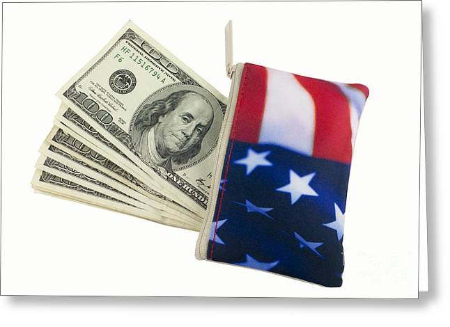 Paper Money Greeting Cards - American Flag Wallet with 100 dollar bills Greeting Card by Blink Images