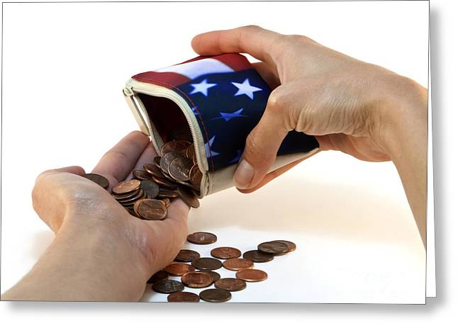 Financial Crisis Greeting Cards - American Flag Wallet with Coins and Hands Greeting Card by Blink Images