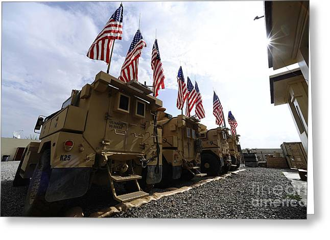 Tactical Greeting Cards - American Flags Are Displayed Greeting Card by Stocktrek Images