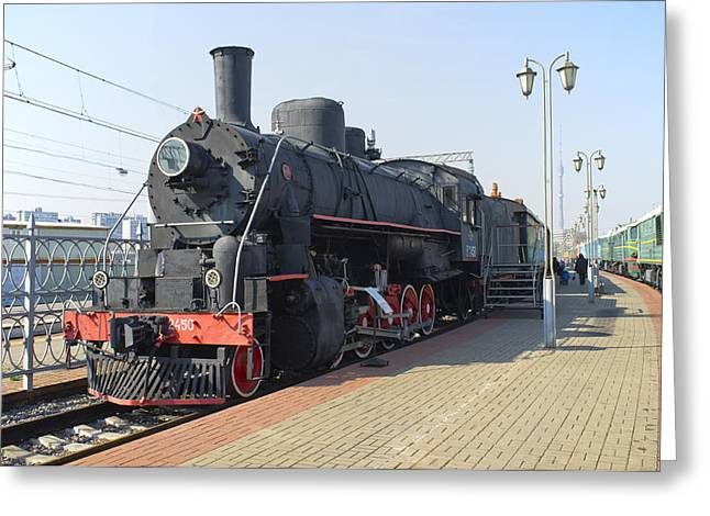 Classic American Railroad Greeting Cards - American steam locomotive Ea-2450 Greeting Card by Igor Sinitsyn