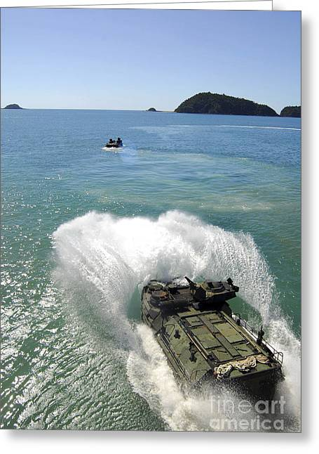 Saber Greeting Cards - Amphibious Assault Vehicles Exit Greeting Card by Stocktrek Images