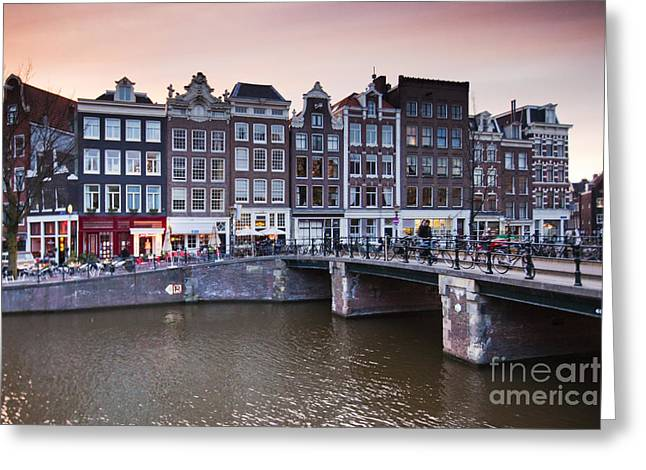 Gabled Greeting Cards - Amsterdam at Sunset Greeting Card by Andre Goncalves