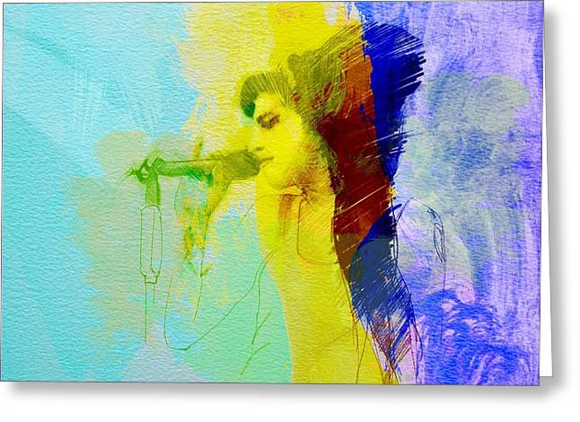 Amy Greeting Cards - Amy Winehouse Greeting Card by Naxart Studio