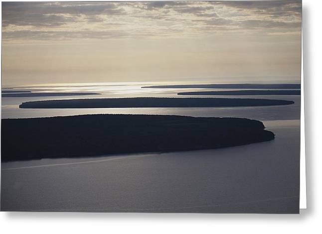 Geography Greeting Cards - An Aerial View Of The Apostle Islands Greeting Card by Raymond Gehman