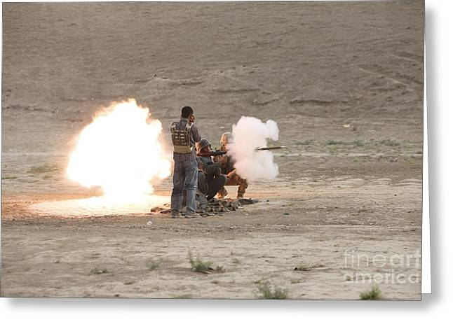 Afghanistan National Police Greeting Cards - An Afghan Police Studen Fires Greeting Card by Terry Moore