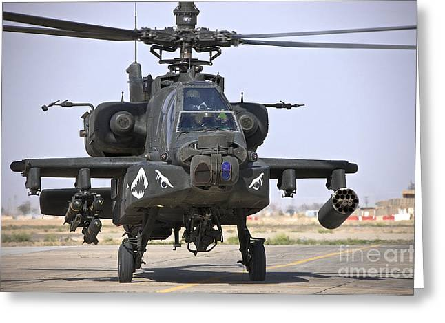 Ah-64 Greeting Cards - An Ah-64 Apache Helicopter Greeting Card by Terry Moore