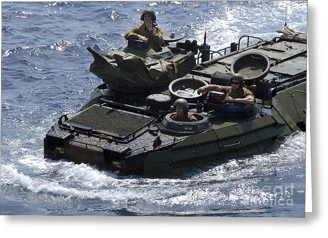 Up-armored Greeting Cards - An Amphibious Assault Vehicle Greeting Card by Stocktrek Images