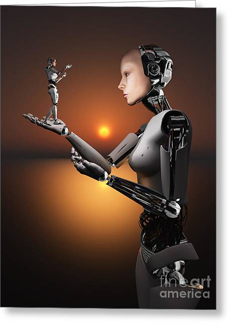Copy Machine Digital Art Greeting Cards - An Android Takes A Closer Look Greeting Card by Mark Stevenson