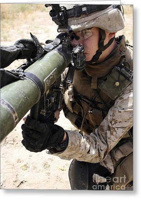 Shoulder-launched Greeting Cards - An Assaultman Handles Greeting Card by Stocktrek Images