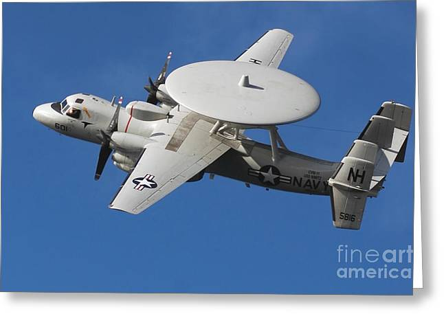 Ap Greeting Cards - An E-2c Hawkeye In Flight Greeting Card by Stocktrek Images