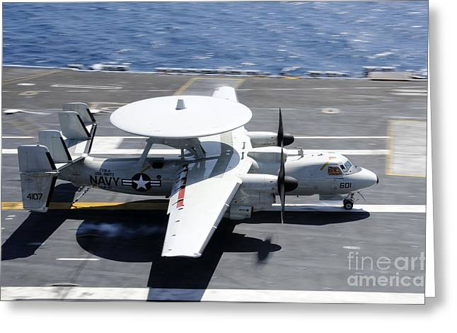 Ap Greeting Cards - An E-2c Hawkeye Lands Aboard Greeting Card by Stocktrek Images