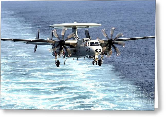 Ap Greeting Cards - An E-2c Hawkeye Prepares For An Greeting Card by Stocktrek Images