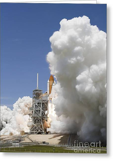 Blastoff Greeting Cards - An Exhaust Plume Forms Around The Base Greeting Card by Stocktrek Images