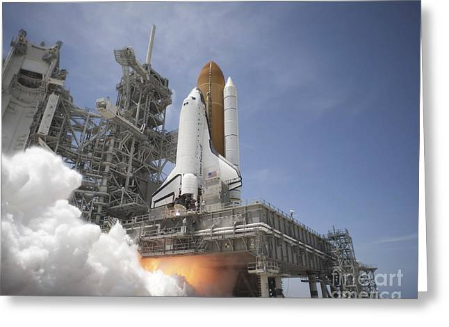 Blastoff Greeting Cards - An Exhaust Plume Forms Under The Mobile Greeting Card by Stocktrek Images
