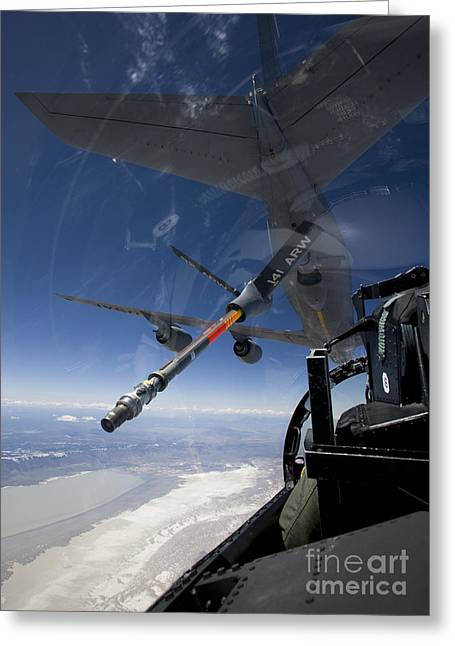 Cooperation Greeting Cards - An F-15 Eagle Pulls Into Position Greeting Card by HIGH-G Productions