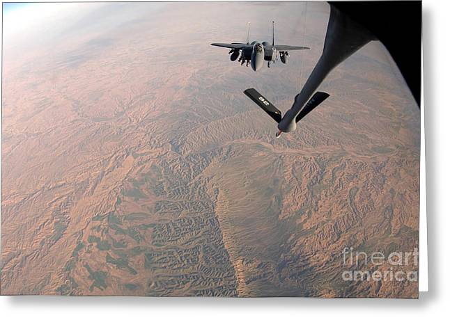 Mechanism Photographs Greeting Cards - An F-15e Strike Eagle Is Refueled Greeting Card by Stocktrek Images
