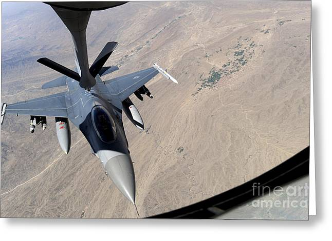 An F-16 Fighting Falcon Receives Fuel Greeting Card by Stocktrek Images
