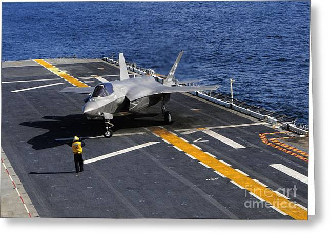 Images Lightning Greeting Cards - An F-35b Lightning Ii Makes A Vertical Greeting Card by Stocktrek Images