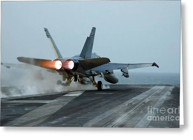 Thrust Greeting Cards - An Fa-18 Hornet Launches Greeting Card by Stocktrek Images