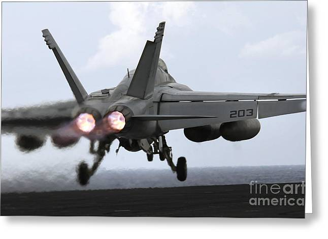 F-18 Greeting Cards - An Fa-18e Super Hornet Launches Greeting Card by Stocktrek Images