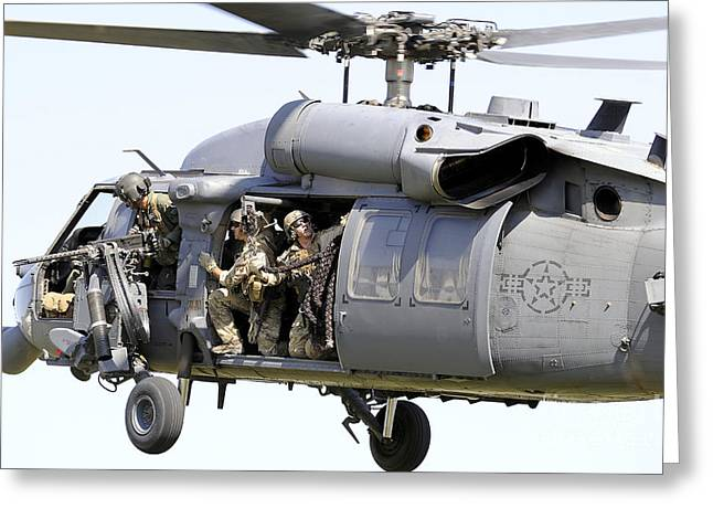 Outlook Greeting Cards - An Hh-60 Pave Hawk Helicopter Crew Greeting Card by Stocktrek Images