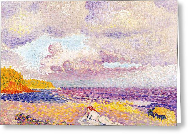 System Paintings Greeting Cards - An Incoming Storm Greeting Card by Henri-Edmond Cross