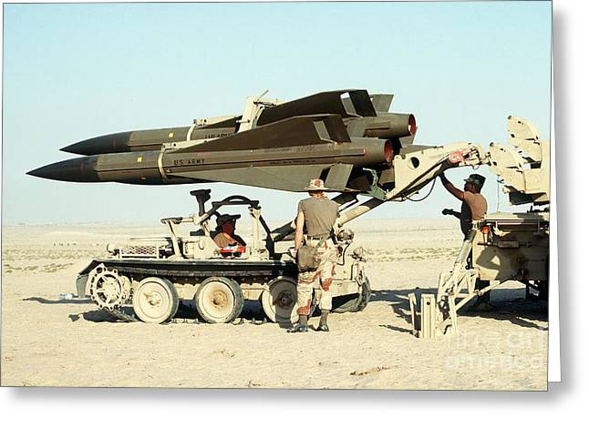Launcher Greeting Cards - An Mim-23b Hawk Surface-to-air Missile Greeting Card by Stocktrek Images