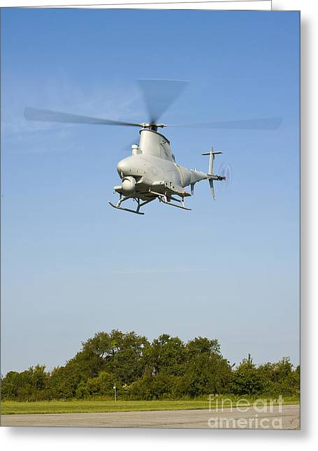 Vertical Flight Greeting Cards - An Mq-8b Fire Scout Unmanned Aerial Greeting Card by Stocktrek Images