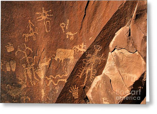 Hopi Indian Greeting Cards - Ancient Indian Petroglyphs Greeting Card by Gary Whitton
