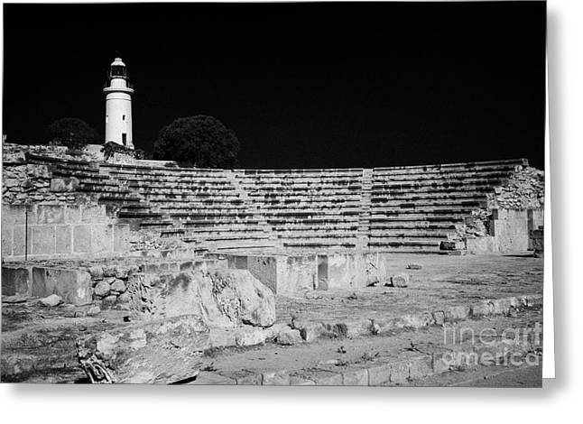 Pafos Greeting Cards - Ancient Roman Odeon Theatre With Paphos Lighthouse Republic Of Cyprus Greeting Card by Joe Fox