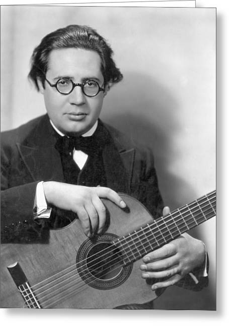 Guitarists Photographs Greeting Cards - Andres Segovia Greeting Card by Granger