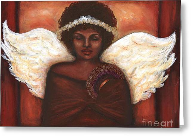 African-american Pastels Greeting Cards - Angel Greeting Card by Alga Washington