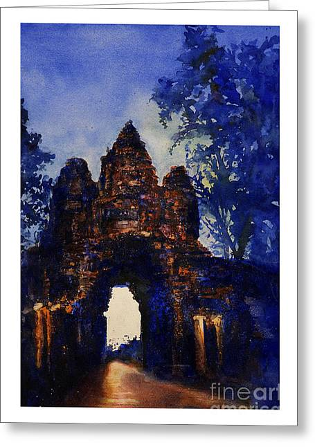 Historic Statue Paintings Greeting Cards - Angkor Sunrise Greeting Card by Ryan Fox