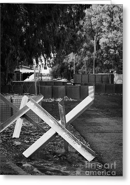 Anti Greeting Cards - anti tank traps at entrance to UN buffer zone sector two wolseley barracks and ledra palace hotel Greeting Card by Joe Fox