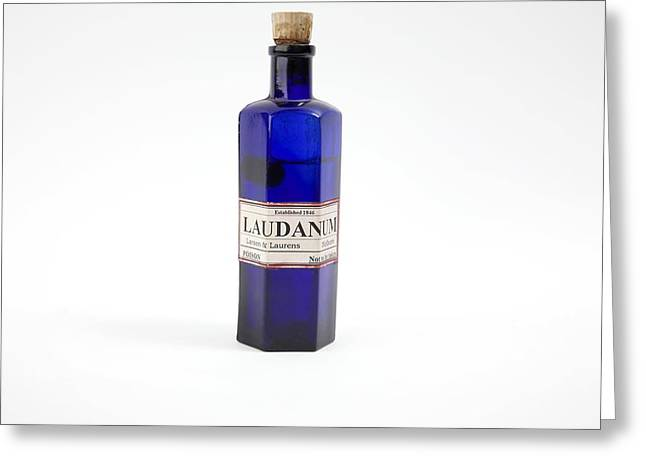 Glass Bottle Greeting Cards - Antique Laudanum Bottle Greeting Card by Gregory Davies, Medinet Photographics